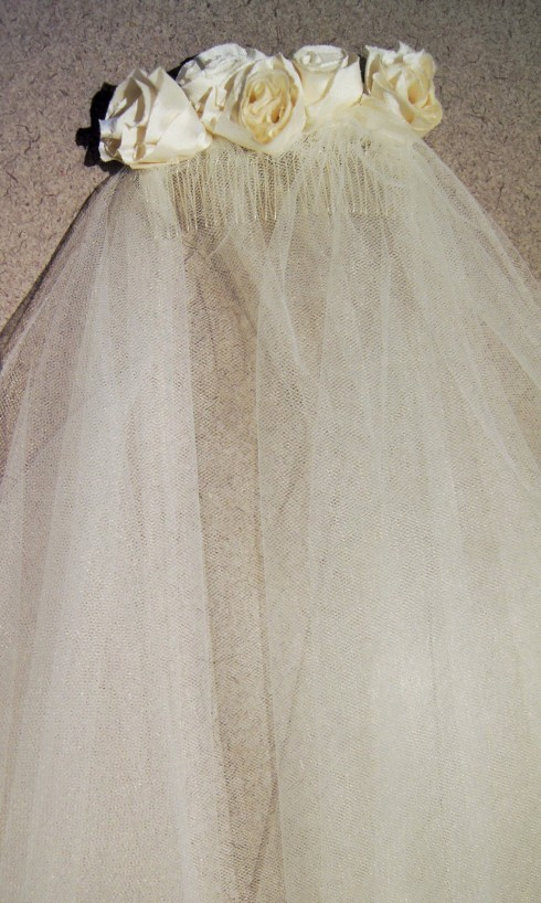 circle veil with silk rosettes