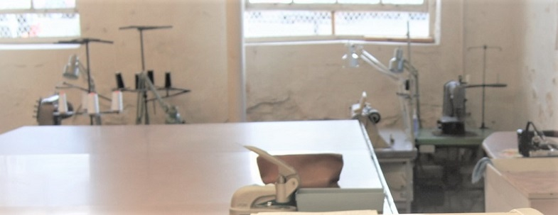 sewing machine setup in the shop